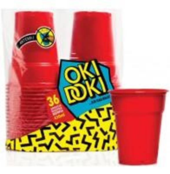 Εικόνα από Ποτήρι πλαστικό κόκκινο Oki Doki 430ml (36τεμ)