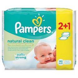 Εικόνα της ΜΩΡΟΜΑΝTΗΛΑ PAMPERS NATURAL CLEAN ΧΩΡΙΣ ΑΡΩΜΑ  64 ΤΕΜΑΧΙΩΝ 2+1 ΔΩΡΟ