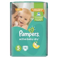 Εικόνα της ΠΑΝΕΣ  PAMPERS ACTIVE BABY DRY  No 5 (11-18 KG) ΣΥΣΚ. 15 ΤΕΜ.CP