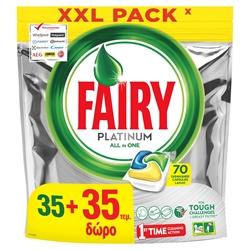 Εικόνα της Fairy caps platinum πλυντηρίου πιάτων λεμόνι 35τεμ.+35τεμ δώρο