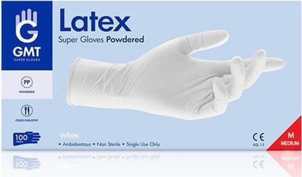 Εικόνα από Γάντια Latex Μιας Χρήσης με Πούδρα  medium GMT 100τεμ.