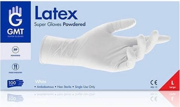 Εικόνα από Γάντια Latex Μιας Χρήσης με Πούδρα  large GMT 100τεμ.