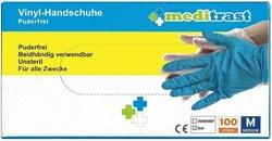 Εικόνα της Γάντια Βινυλίου Χωρίς Πούδρα Μπλε Meditrast 100τμχ MEDIUM