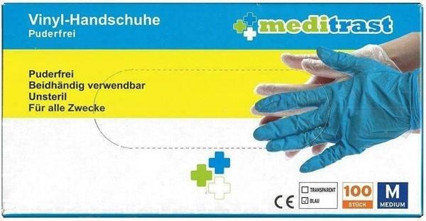 Εικόνα από Γάντια Βινυλίου Χωρίς Πούδρα Μπλε Meditrast 100τμχ MEDIUM